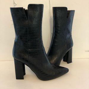 Black mid calf croc boots